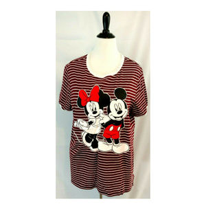 Minnie Mickey Mouse Plus 1X Womens Graphic Tee Top